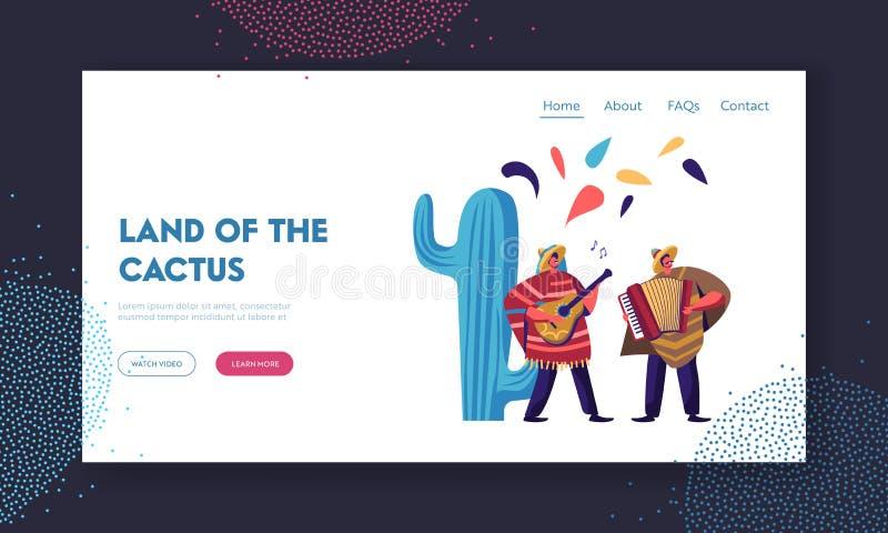 Cinco de Mayo festiwal Meksykańscy artyści z akordeonem i gitarą w Tradycyjnych ubraniach Świętują Krajowego muzyka ludowa wakacj royalty ilustracja