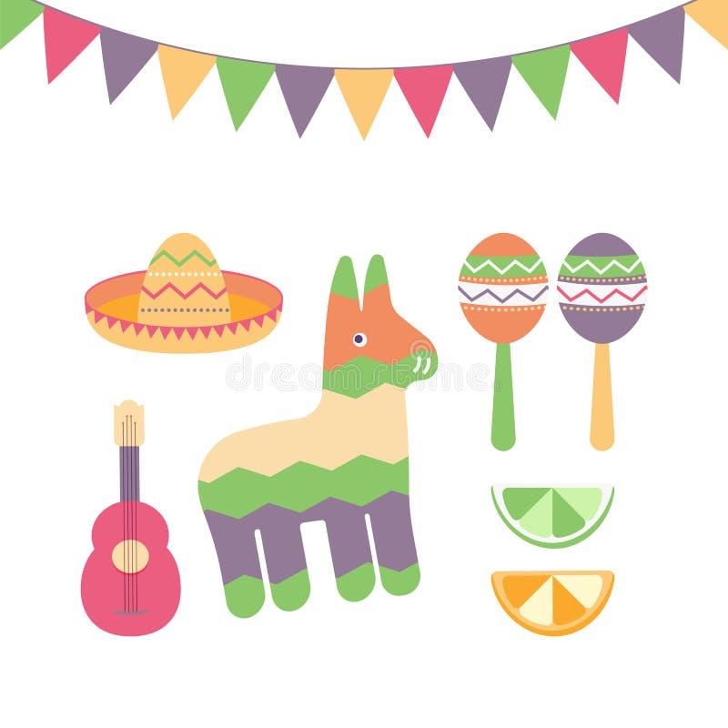 Cinco de Mayo festiwal w Meksyk ikony secie Set tradycyjni etniczni symbole dla Meksykańskiej parady z marakasami, pinata royalty ilustracja