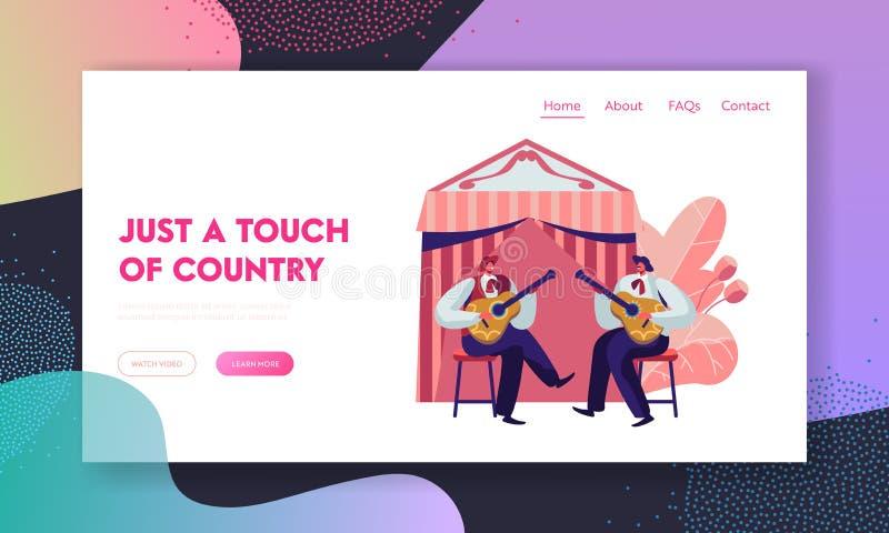 Cinco De Mayo festiwal z zespołem Meksykańscy mężczyźni Bawić się gitary odświętności muzyki ludowej Krajowego wakacje Artystów m ilustracja wektor