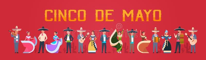Cinco De Mayo festiwalu plakat Z Meksykańskimi ludźmi W Tradycyjnym Odzieżowym muzyków I tancerzy Horyzontalnym sztandarze