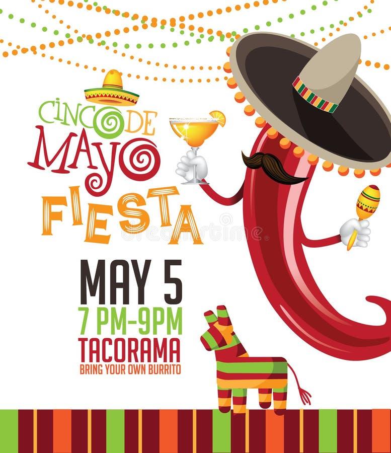 Cinco De Mayo festlig marknadsföringsmall med hand dragen bokstäver royaltyfri illustrationer
