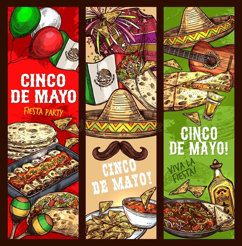 Cinco de Mayo-fiesta, Mexicaanse vakantieviering royalty-vrije illustratie