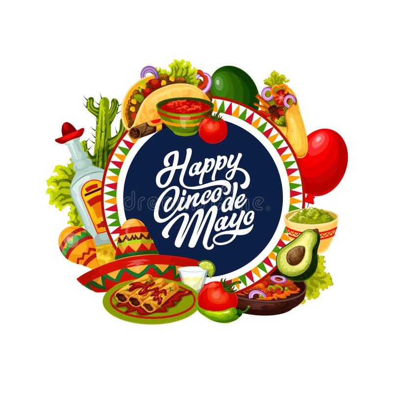 Cinco de Mayo party sombrero, cactus, Mexican food. Cinco de Mayo fiesta party food and drink vector greeting card of Mexican holiday. Sombrero, cactus and stock illustration