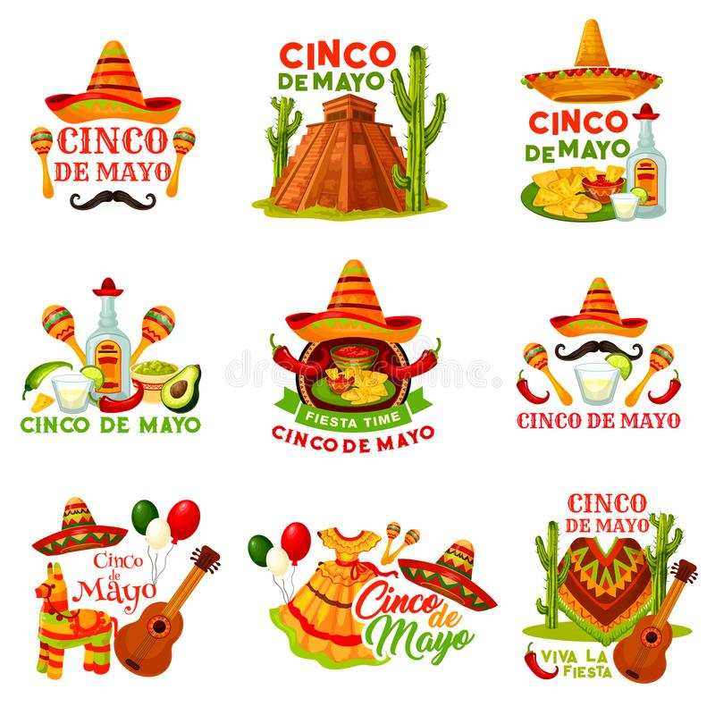 Cinco de Mayo fiesta party icon of mexican holiday. Festival sombrero hat, chili pepper and jalapeno, maracas, guitar and tequila, cactus, avocado guacamole stock illustration