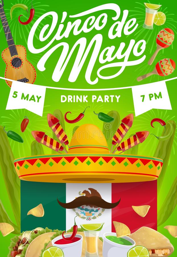 Cinco de Mayo party food, sombrero and guitar. Cinco de Mayo fiesta party vector invitation with Mexican holiday food and drink. Sombrero, moustche and guitar royalty free illustration