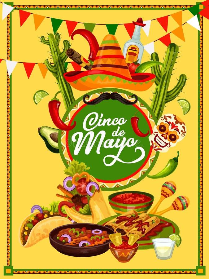 Cinco de Mayo fiesta przyjęcia napoju i jedzenia sztandar ilustracji