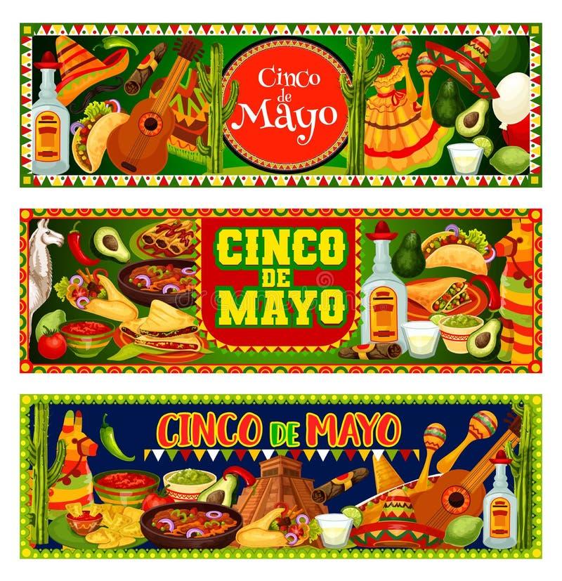 Cinco de Mayo fiesta sombrero, guitar and tequila. Cinco de Mayo Mexican holiday vector greeting banners with fiesta party sombrero, guitar and maracas. Tequila royalty free illustration