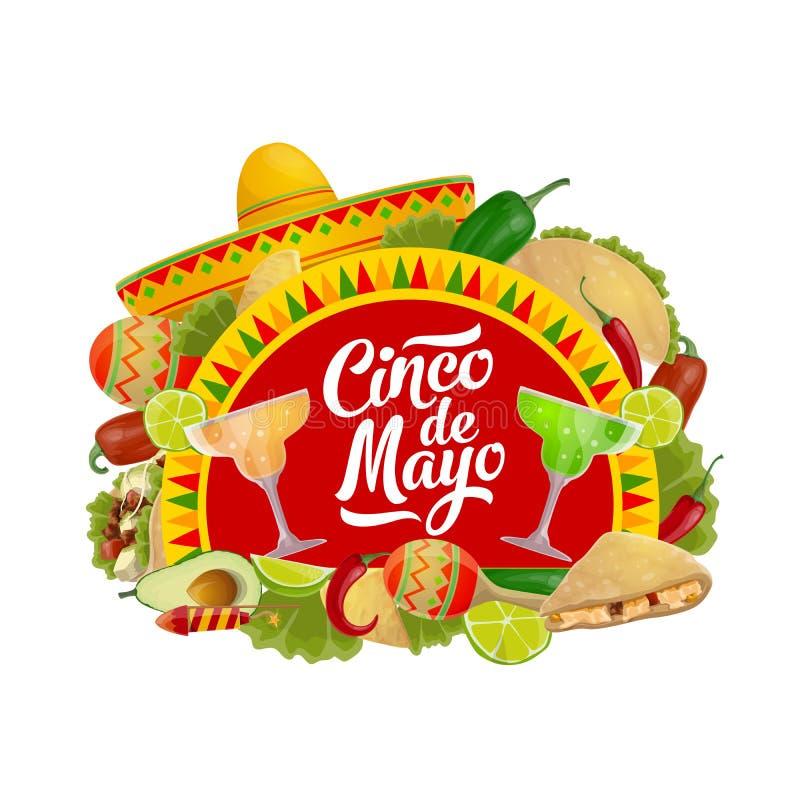 Cinco de Mayo food, drink and Mexican sombrero. Cinco de Mayo holiday sombrero, maracas, food and drink vector design. Mexican fiesta party tequila margarita royalty free illustration