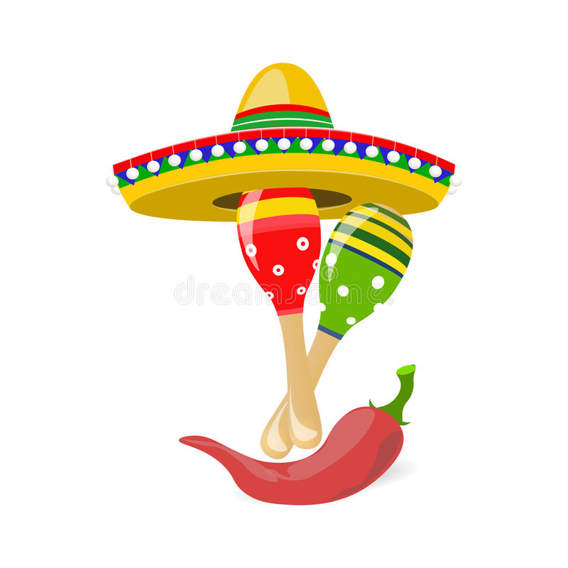 Cinco de Mayo. Fun holiday. Sombrero, maracas and red peppers. illustration stock illustration