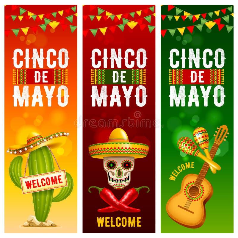 Cinco de Mayo-geplaatste banners stock illustratie
