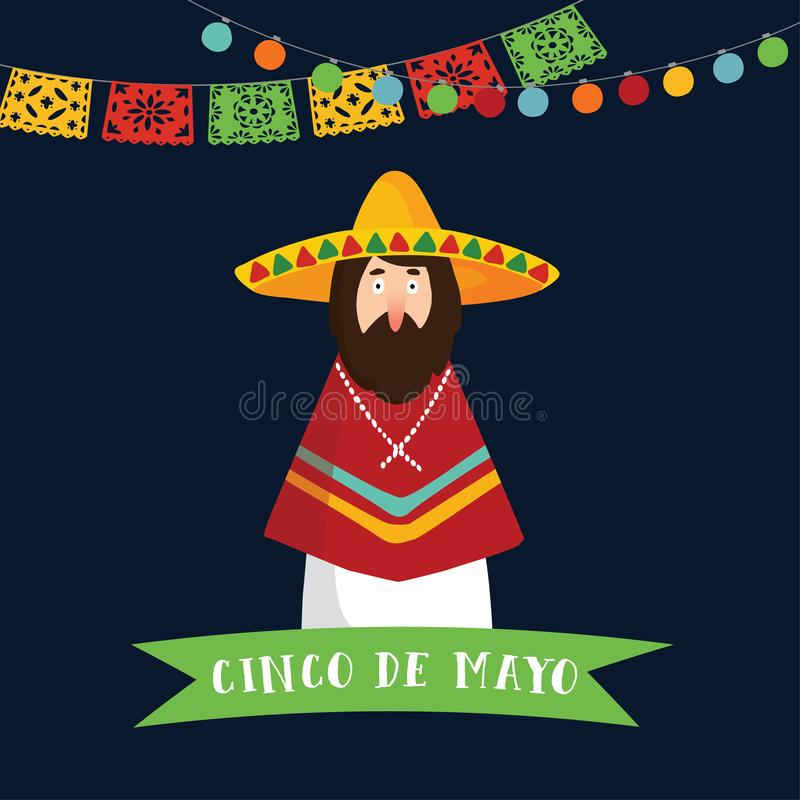 Cinco de Mayo greeting card, invitation. Mexican man with sombrero hat, poncho and ribbon banner, Party decoration. String of lights and handmade cut paper royalty free illustration