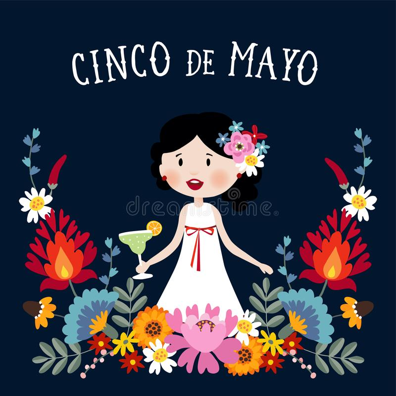 Cinco de Mayo greeting card, invitation with Mexican woman drinking margarita cocktail, chili peppers and decorative stock illustration