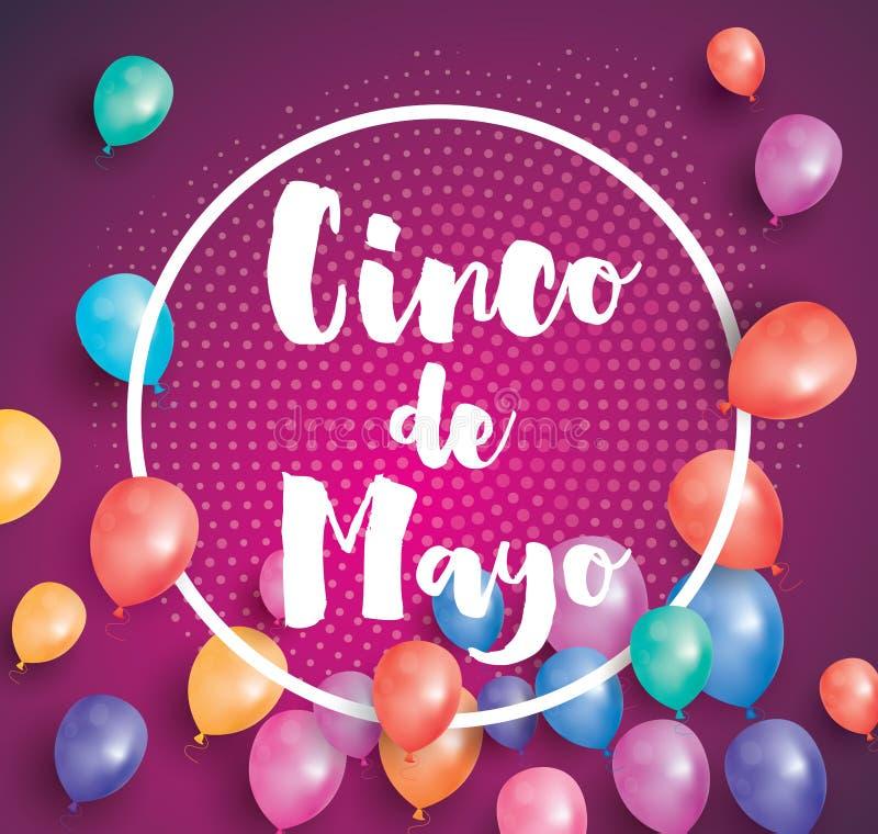Cinco de Mayo Greeting Card met Vliegende Ballons en Wit Kader royalty-vrije illustratie