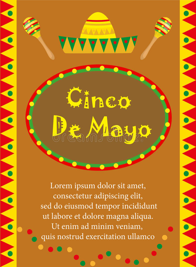 Cinco de Mayo greeting card, template for flyer, poster, invitation. Mexican celebration with traditional symbols. Vector illustration stock illustration