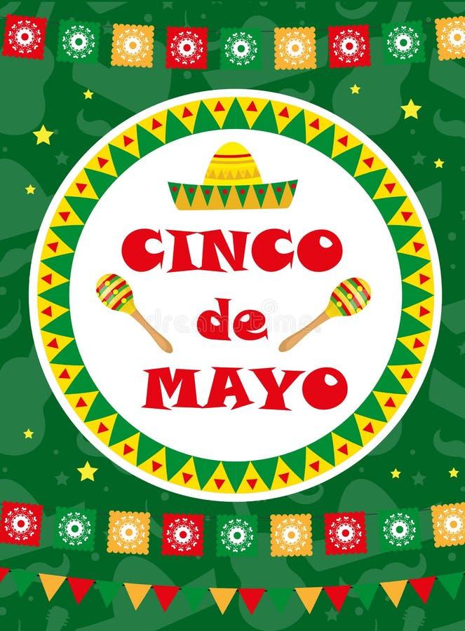 Cinco de Mayo-Grußkarte, Schablone für Flieger, Plakat, Einladung Mexikanische Feier mit traditionellen Symbolen vektor abbildung