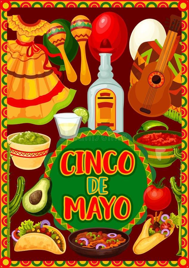 Cinco de Mayo guitar and maracas. Mexican holiday. Mexican holiday guitar, maracas and cactus of Cinco de Mayo fiesta party vector greeting card. Tequila stock illustration