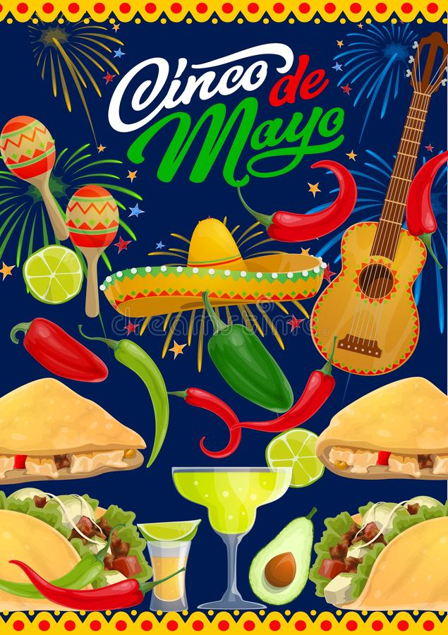 Cinco de Mayo guitar, sombrero, fiesta party food. Cinco de Mayo fiesta party guitar, sombrero, food and drink of Mexican holiday vector greeting card. Mariachi stock illustration