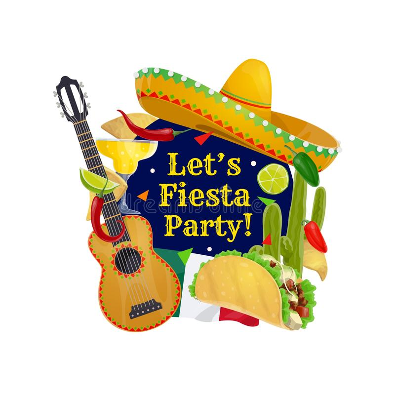 Cinco de Mayo guitar, sombrero and Mexican flag. Cinco de Mayo holiday vector greeting card with Mexican sombrero and guitar. Fiesta party tequila margarita royalty free illustration