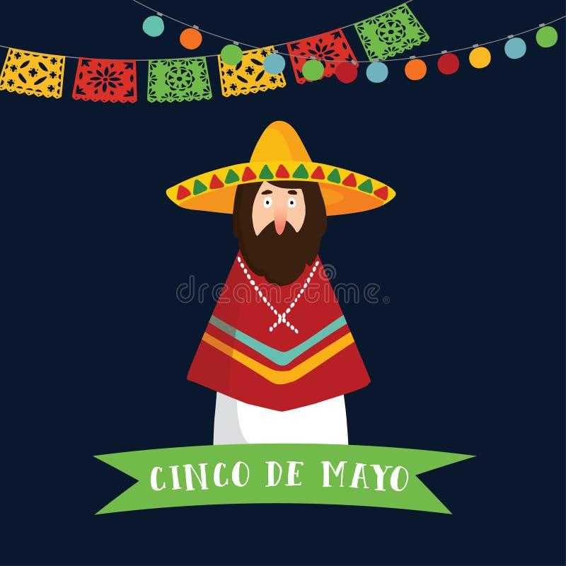 Cinco de Mayo h?lsningkort, inbjudan Mexicansk man med sombrerohatten, ponchon och bandbanret, partigarnering royaltyfri illustrationer