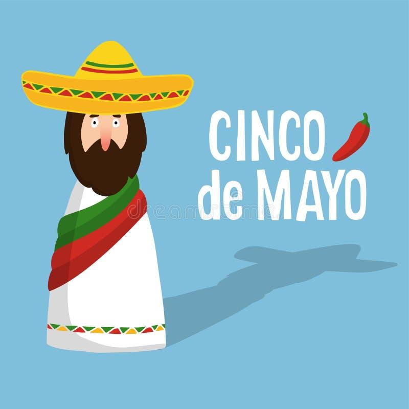 Cinco de Mayo hälsningkort med den mexicanska mannen med sombreron, hand dragen text och chilipeppar, lägenhetdesign, royaltyfri illustrationer
