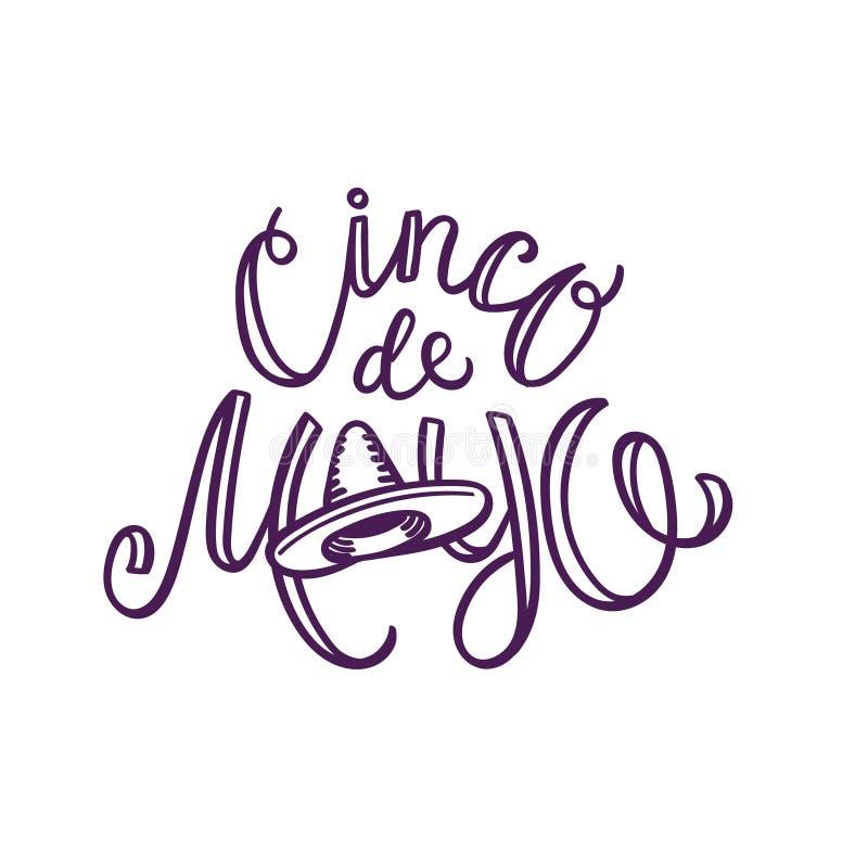 Cinco de mayo hand-bokstäver med sombreron stock illustrationer