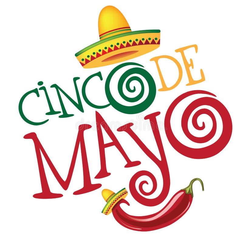 Cinco De Mayo hand dragen bokstäverdesign vektor illustrationer