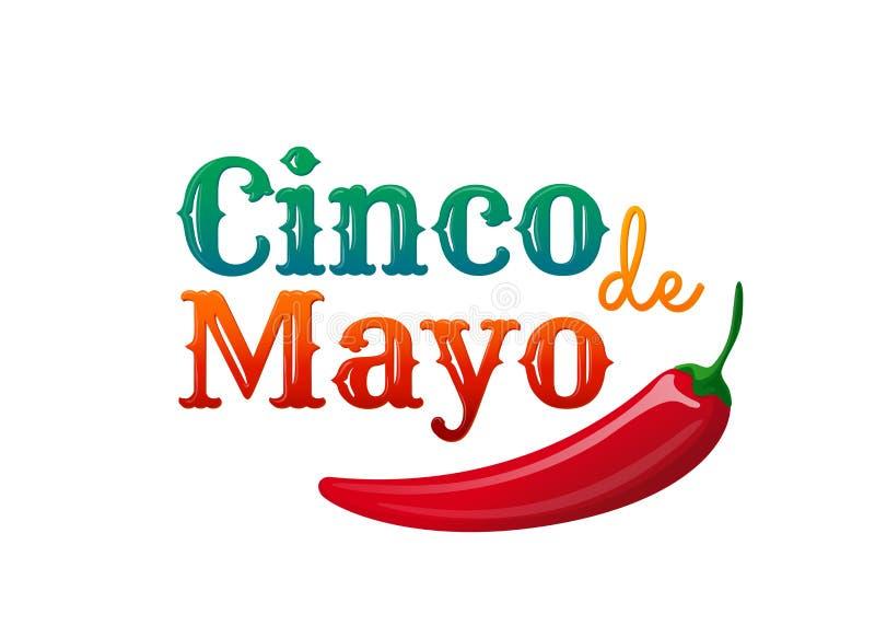 Cinco DE Mayo Het element van het ontwerp voor groetkaart stock illustratie