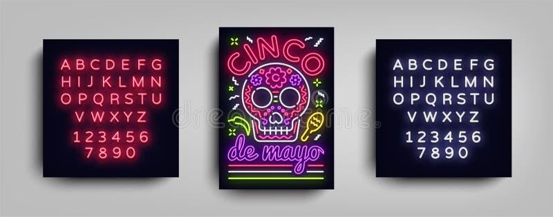 Cinco de Mayo-het malplaatje van de het neonstijl van het afficheontwerp Neonteken, heldere lichte neonvlieger, Mexicaanse vakant stock illustratie