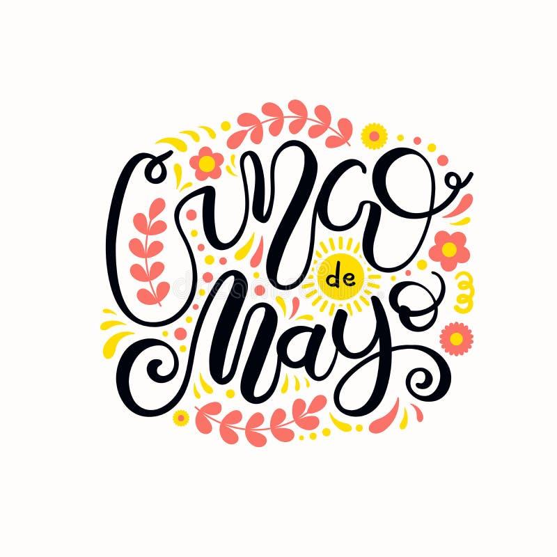 Cinco de Mayo-het van letters voorzien ontwerp vector illustratie