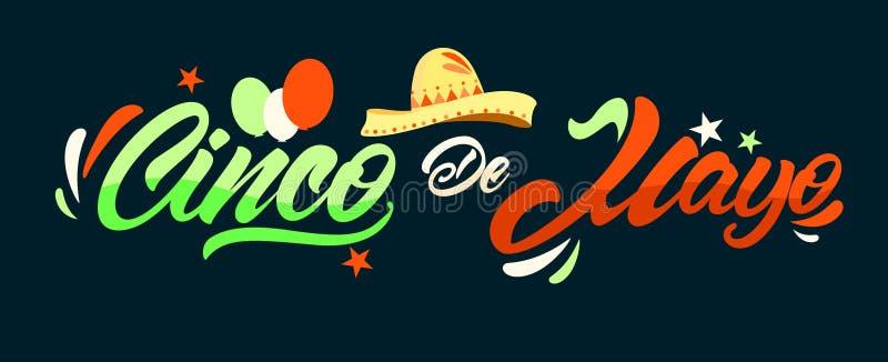 Cinco DE Mayo in het van letters voorzien stijl met hoedenillustratie Federale vakantie in Mexico Duif als symbool van liefde, pe vector illustratie