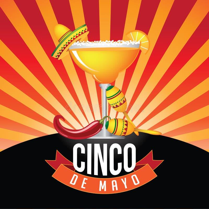 Cinco De Mayo-het vierkant van het uitbarstingspictogram royalty-vrije illustratie