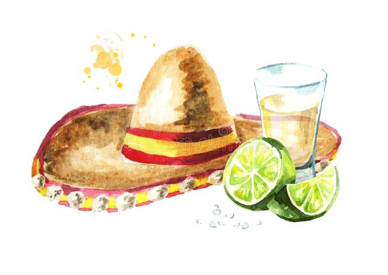 Cinco de Mayo-hoedensombrero en tequila met kalk en zout wordt geschoten dat Hand getrokken waterverfillustratie royalty-vrije illustratie