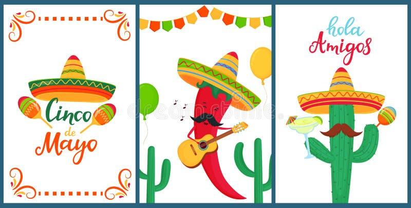 cinco de mayo Hola?? o 一套欢乐海报对墨西哥国庆节 滑稽的辣椒 库存例证