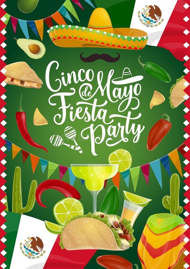 Cinco de Mayo holiday, Mexican fiesta calligraphy. Cinco de Mayo calligraphy, Mexican holiday fiesta celebration tequila and margarita cocktail. Vector Cinco de vector illustration