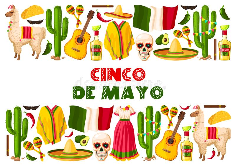 Cinco de Mayo holiday Mexican vector greeting card stock illustration