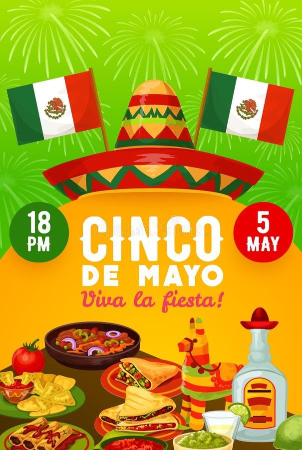 Cinco de Mayo holiday sombrero, food and drinks. Mexican food and drinks vector design of Cinco de Mayo fiesta party invitation. Sombrero, pinata and flags of stock illustration