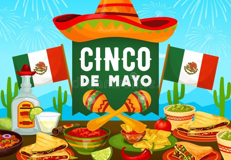 Mexican food, drink and Cinco de Mayo sombrero. Cinco de Mayo holiday vector greeting card with Mexican food and fiesta party drink. Sombrero, maracas and vector illustration