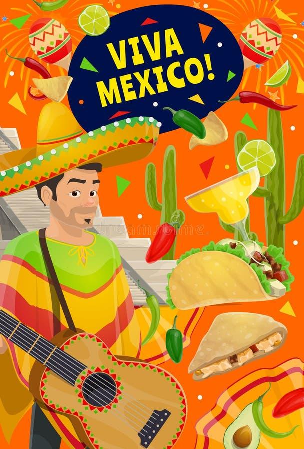 Cinco de Mayo holiday, Viva Mexico party fiesta. Viva Mexico and Cinco de Mayo Mexican holiday celebration fiesta. Vector Cinco de Mayo party man i sombrero and royalty free illustration