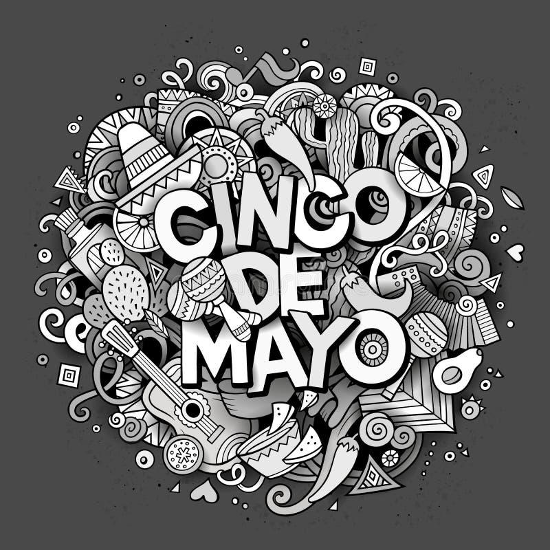 cinco de mayo Illustration för klotter för tecknad filmvektor hand dragen vektor illustrationer