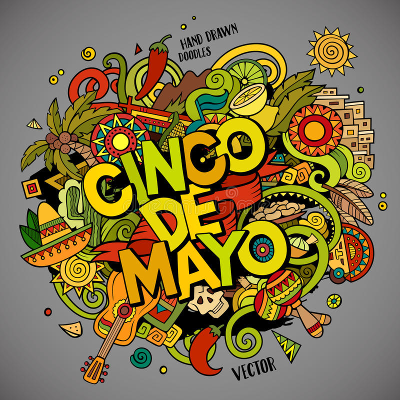 cinco de mayo Illustration för klotter för tecknad filmvektor hand dragen stock illustrationer