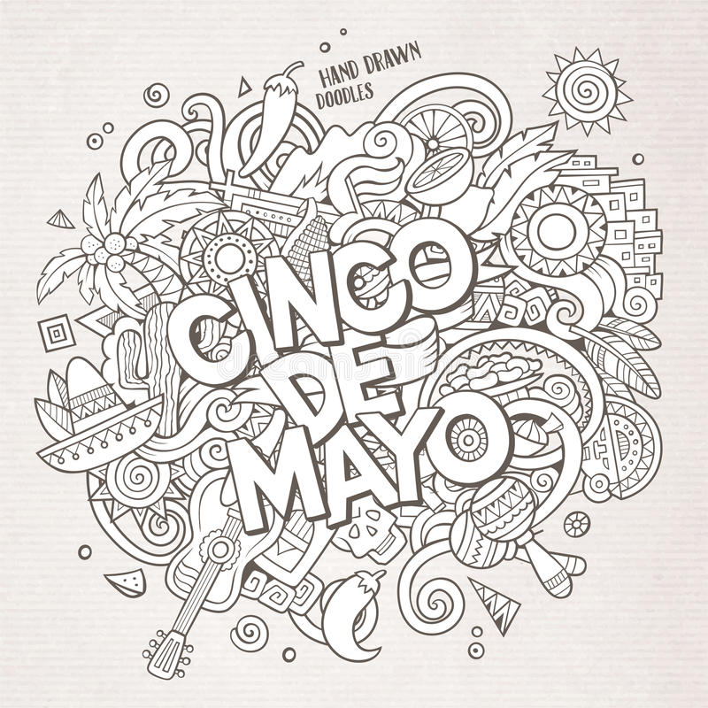 cinco de mayo Illustration för klotter för tecknad filmvektor hand dragen royaltyfri illustrationer