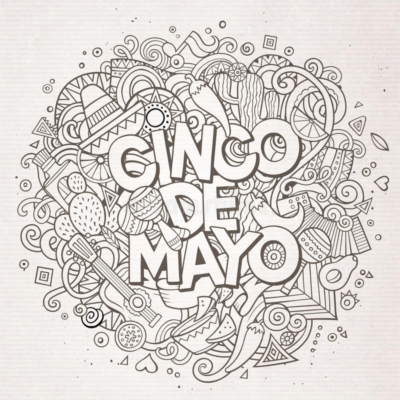 cinco de mayo Illustration för klotter för tecknad filmvektor hand dragen vektor illustrationer