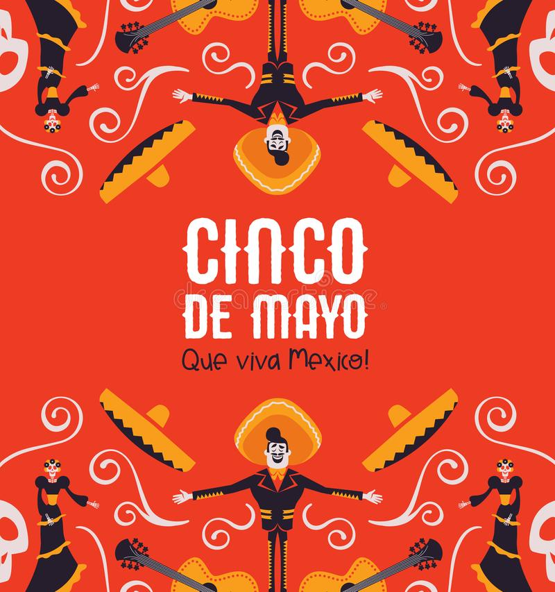 Cinco de Mayo card of mexican mariachi and catrina. Cinco de Mayo illustration for Mexican independence celebration. Colorful cartoon background of traditional royalty free illustration