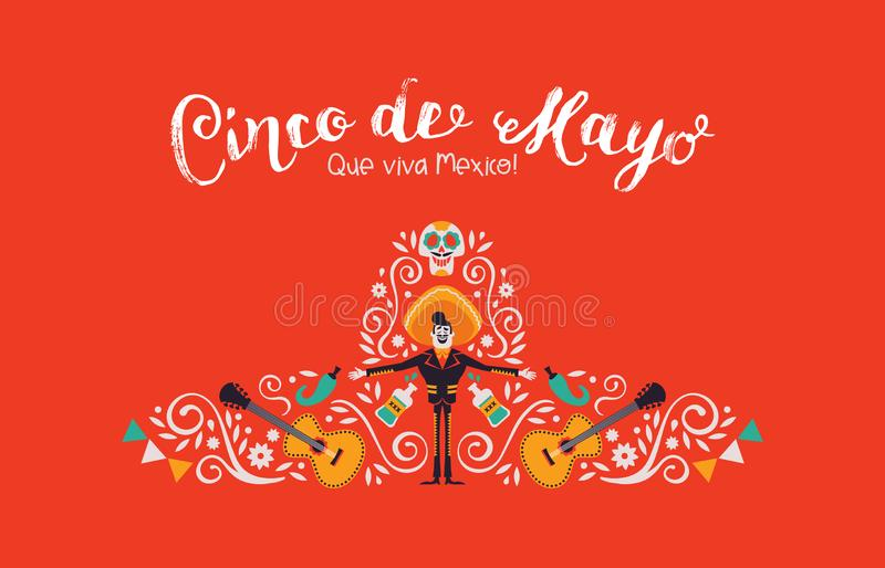 Cinco de Mayo card of mariachi hat and decoration. Cinco de Mayo illustration for Mexican independence celebration. Traditional hat shape made of mexico culture vector illustration