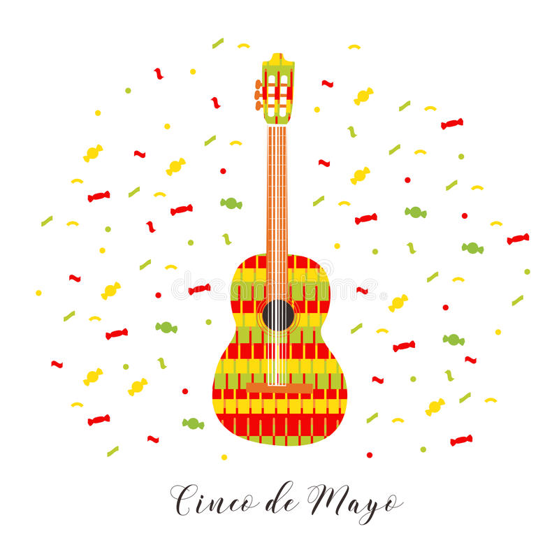 Cinco De Mayo Ilustração do vetor para o cartão Guitarra colorido entre confetes ilustração do vetor