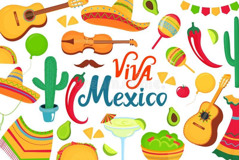 Cinco De Mayo Iscrizione disegnata a mano di Viva Mexico manifesto decorativo, insegna, aletta di filatoio, cartolina d'auguri, a illustrazione di stock