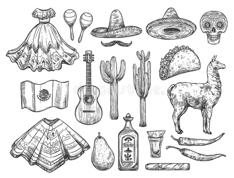 Cinco de Mayo isolated Mexican holiday symbols. Mexican traditional symbols isolated sketches. Vector national dress huipil and sombrero hat, tequila and cactus vector illustration