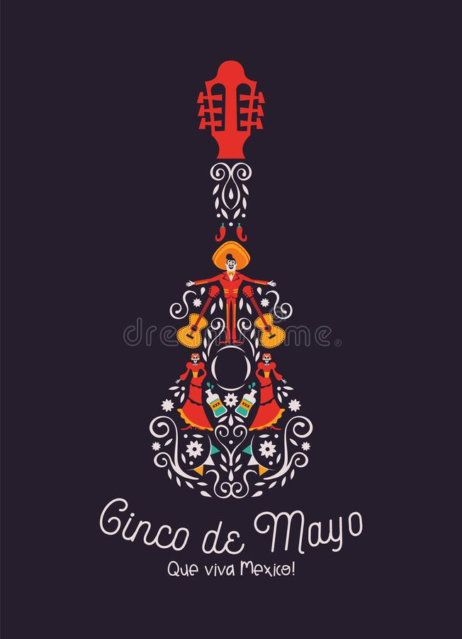Cinco de Mayo-de kaart van de mariachigitaar van cultuurpictogram stock illustratie