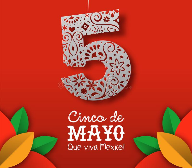 Cinco de Mayo-kaart van Mexicaans document besnoeiingsart. stock illustratie