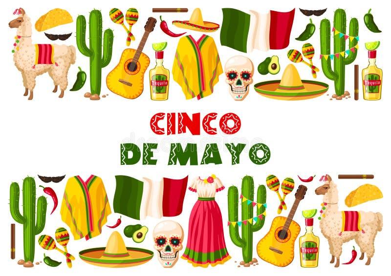 Cinco de Mayo-kaart van de vakantie de Mexicaanse vectorgroet stock illustratie